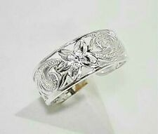 Hawaiian Heritage Long Scrolls Toe Ring 7Mm Solid 925 Sterling Silver Pierced