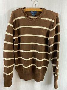 POLO Ralph Lauren Boys Sweater Size Large Brown White Striped Long Sleeve EUC