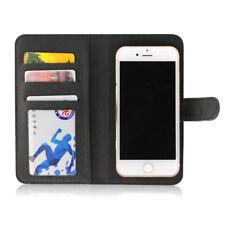Etui  portefeuille universel en cuir noir pour smartphone Samsung Galaxy S6 Edge