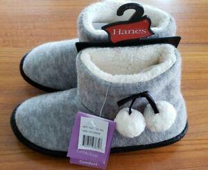 NEW Hanes Women's Bootie Slippers SIZE 5-6 GRAY Indoor Outdoor  #385817