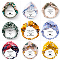 Women Floral Head Twist Headband Cross Knot Elastic Hair Band Turban Hairband