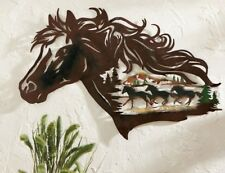 Rustic Country Western Horse Shadow Metal Wall Art Hanging Home Decor