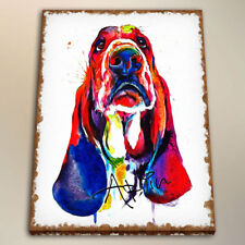 Watercolor Painting Art Print on Canvas Colorful Basset Hound Home Decor 24x28