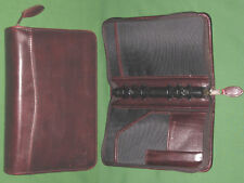 """PORTABLE 1.0"""" Brown LEATHER Day Timer Planner BINDER Compact Franklin Covey 8158"""