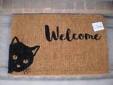 SOLEMATE FM2 COIR NATURAL BLACK WELCOME CAT PEEKING DESIGN DOOR MAT 50x80cm