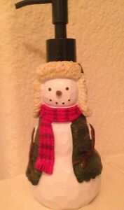 Christmas Winter Woods Snowman Soap or Lotion Pump Dispenser