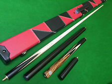New 3/4 Handmade Ash Ebony Zebrawood Snooker Cue Pool Cue 8.5mm Tip Small Tip