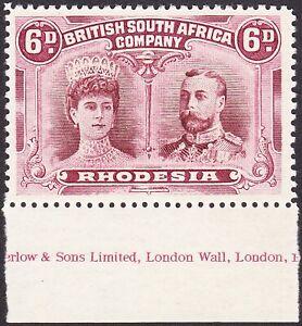 Rhodesia 1910 6d P14 POSITION 48 WATERLOW IMPRINT MARGIN AT BASE V FINE MVLH OG