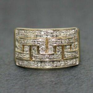 9ct Yellow Gold 0.25ct Diamond Greek Key Cluster Ring Size O, US 7