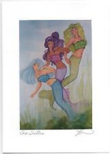 "Karen Bagnard Signed~3 Mermaids~""Sea Sisters""~Blank Greeting Art Card~Glitter"