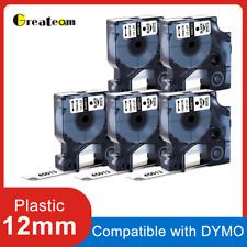 5 PK 45013 Compatible DYMO D1 Label Tape 45013 S0720530 Black on White 12mm x 7m