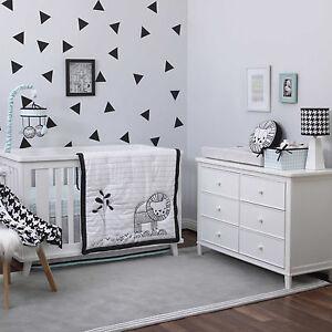 NoJo 3 piece Crib Bedding Set   - Roar -Lion - Black/White/Mint - See Details