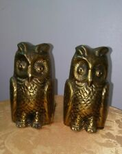 Vtg. Brass England Owl Bookends