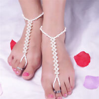 Imitation Pearl Barefoot Anklet Chain Sandals Beach Anklet Foot Chain Jewelry LD