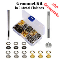 200 Set Grommet Setter Tool Kit Hole Punch Eyelet Canvas Fabric Crafts Repair