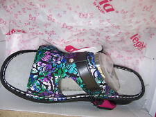 Alegria by PG Lite Peggy Leather Slides Sandals Womens Hibiscus & Co 9.5
