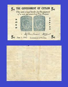 Ceylon 5 cents rupees 1942 UNC - Reproduction