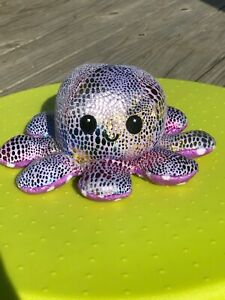New~REVERSIBLE Emoticon OCTOPUS~ Double Sided Soft Plush~Shiny/Spotted Purple