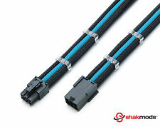 6 Pin Black Light Blue 30cm PCIE Extension Sleeved + 2 Free cable Combs Shakmods