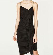 Zara Women Small Black Midi Ruffle Dress  Spaghetti Strap Ruched Party Long S