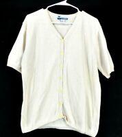La Chapelle Women's Large Button Up Short Sleeve V-Neck Cardigan Cream