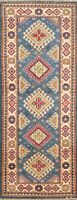 Blue Geometric Super Kazak Oriental Runner Rug Hand-Knotted Wool 2x6 New Carpet