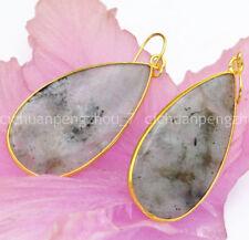 Women's Jewelry Natural Gray Labradorite Dangle Gold-plated Hook Earrings