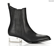 ALEXANDER WANG Anouck Chlesea Lucite Cut Out Heel Black Leather Boots 6.5 37 NEW