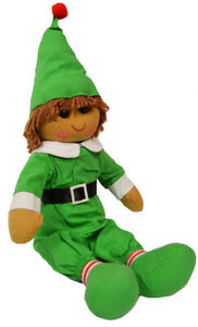 Christmas Elf Rag Doll by Powell Craft Classic Green Outfit Hat Belt Large 40cm