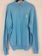 Peter Millar Men's Sweater 1/4 Zip Sz M Cashmere Blend Blue Pullover EUC (pm1)