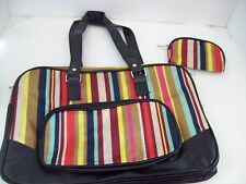 Women's Cute Striped Multi-Color Purse Tote Bag with Cosmetic Bag