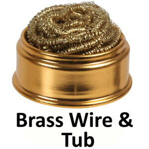 Brass Soldering Iron Tip Cleaning Wire Nozzle Cleaner Wool Sponge Ball Holder UK