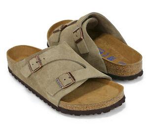 BIRKENSTOCK Men's ZURICH BS Taupe Slide Sandals 2 Straps Regular Fit 1009532