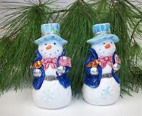 Patriotic Christmas Snowman Salt Pepper Shaker Set