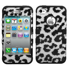 for iPhone 4 4S - Silver Black Cheetah Leopard Dual Layer Hard & Soft Armor Case