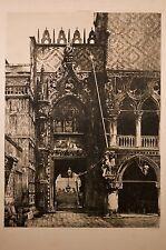 gravure JRP Litoux, porte palais ducal à Venise v 1880, Italie,architecture