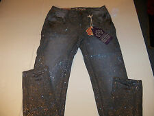 WALL FLOWER SASSY SKINNY STRETCH GLITTER JEANS JR SZ 11 REG -GRAY- NWT