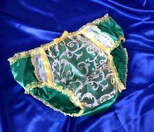 "Emerald Green  Satin Panties 30""- 46""  Sissy/TV/CD   Size M L"