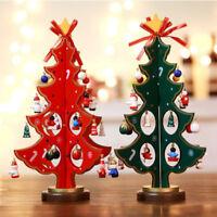 Miniature Christmas Ornaments Wooden Tree Desktop Decor Crafts Gift Home Decor