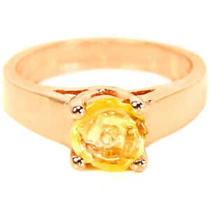 NATURAL AAA YELLOW CITRINE FLOWER CARVING STERLING 925 SILVER RING SIZE 7.5