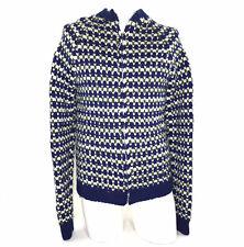 Men's Cardigan Jacket Full Zip Sweater Hand Knit Geometric Vintage 70s M Tall