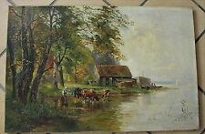 Schönes altes Ölgemälde Chiemseelandschaft von 1905 Künstlersignatur : H.1905