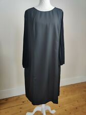 Black Formal Party Dress Plus Size 24 Knee Length Sheer Pleated Sleeves New