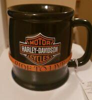 NWT Harley-Davidson Motorcycles Black Barrel Live To Ride 16 oz Coffee Mug