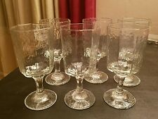6 Large Wavey Stem Footed Ice Tea Water Glasses Tumblers