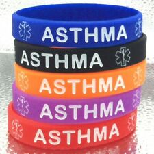 Asthma Asthmatic MEDICAL ALERT Bracelet Survival Band Silicone Wristband Adult