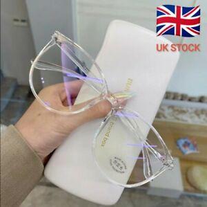 Transparent Computer Glasses Frame Women Men Anti Blue Light Round Eyewear ✨