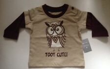 """Baby Boy Beige Long Sleeved Top with Owl """"Toot Cute"""" detail."""