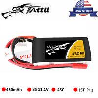 Tattu 450mAh 45C 11.1V 3S LiPo Battery JST Plug For Small Size FPV E-flite Blade