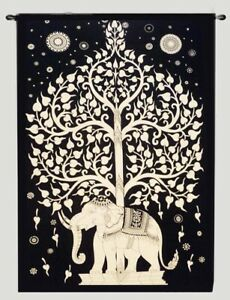 TWIN TREE OF LIFE ELEPHANT TAPESTRY THROW BEDSPREAD BED SHEET WALL HANGING